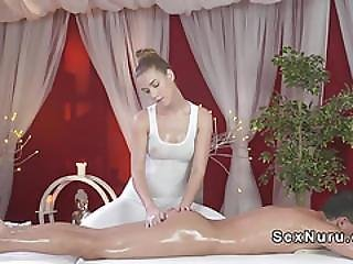 Blonde Masseuse Takes Huge Cock