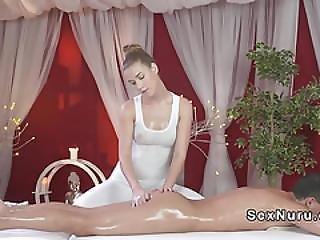 Blonde Masseuse Takes Huge Cock