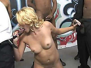 Katie Summers Gets On Knees And Services Horny Black Dudes