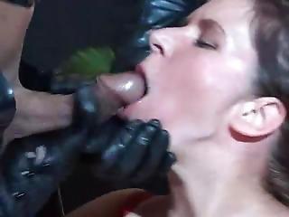 Leather Gloved Cum Feeding