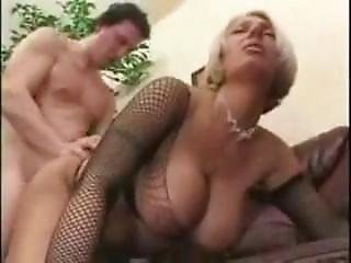 Mom With Huge Tits In Fishnet