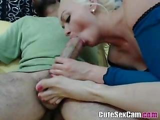 Blonde Amateur Sucking Big Cock And Teasing It With Feets