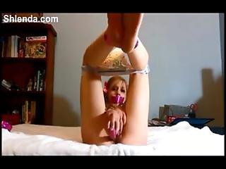 Kinky German Schoolgirl Teen Masturbates In Diapers And Handcuf. Blonde. Pigtail