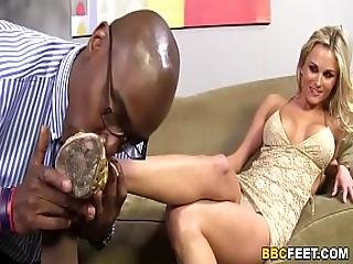 Blonde Laura Crystal Gives Footjob To A Bbc