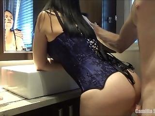 Hot & Busty Brunette Young Milf In Corset Is Fucked In Front Of Her Mirror
