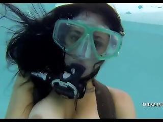 Topless Scuba In Pool