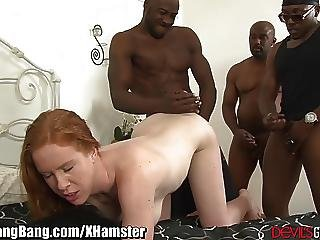 Horny Redhead And 3 Big Black Cocks
