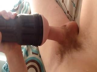 First Time Using A Fleshlight - Destroya. Big Uncut White Student