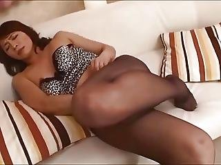 Pantyhose nylon feet mature