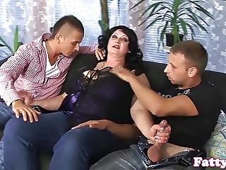 おっぱい, 精液をショット, 脂肪, 熟女, 3P