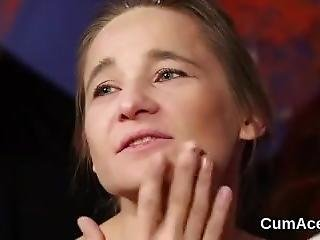 Hot Stunner Gets Cumshot On Her Face Eating All The Sperm