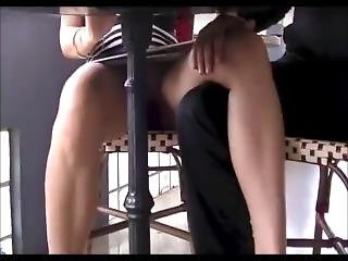 Teen Flashing Shaved Pussy And Teasing Strangers At Lunch