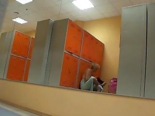 Naked Blonde Girl In The Locker Room