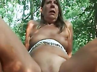Blonde Gilf Samantha Rides Long Cock In Woods