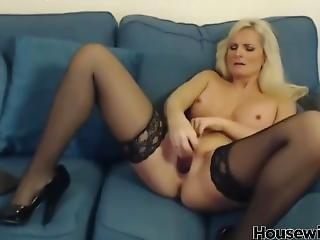 British Blonde Cougar In Stockings