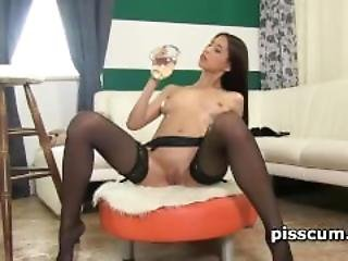 Paula Shy Pours Piss Over Her Hot Pussy
