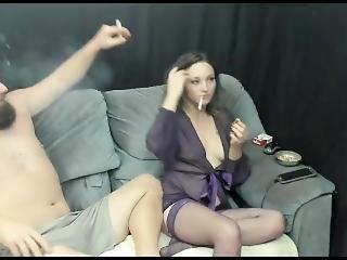 ερασιτεχνικό, μελαχροινή, Pov, πραγματικότητα, κάπνισμα, Webcam