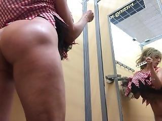Tanline Big Butt Milf In Walmart Costume Change Room Dildo Fuck