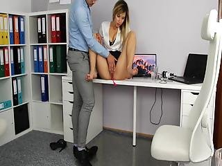 Amateur Blonde Plays With Her Bald Pussy And Squirts At Work