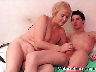 Smoking Granny Gets Topless For Young Fuckboy.