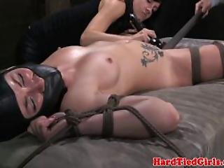 Restained Petite Sub Pussy Toyed