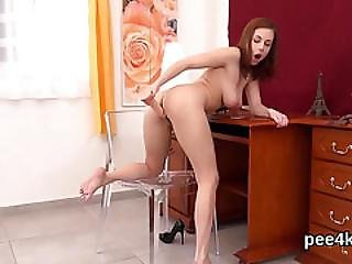 Glamorous Teen Is Pissing And Masturbating Shaven Hole