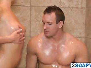 Young Blondie Casie James Massages Hard Meat In The Shower
