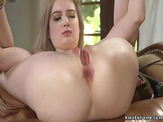 Skinny Blonde Sub Ass And Pussy Whipped
