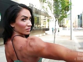 Hot Muscular Girl Flexing On Street