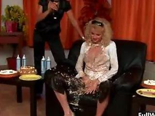 Curly Blonde Euro Babe Loves Messy Cake Part