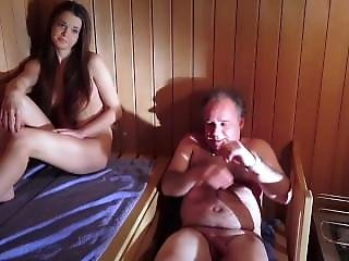 Amazing Beautiful Teen Is Fucking An Old Man In The Sauna