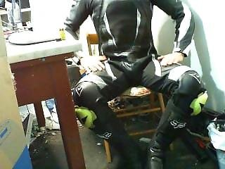 Mx Boots And Dainese Leather Suit Wank And Cum Inside