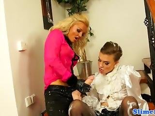 Glam Les Cocksucking Strapon Until Facial