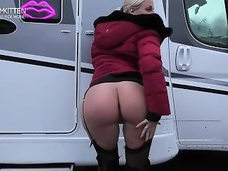 Blonde In Red Puffy Jacket With Fur Hood Sex