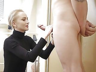 Blonde, Pipe, éjaculation, Nylon