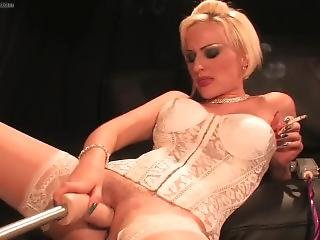 Smokeymouths Blonde Smoking Slut Emma Louise Gets Fucked By The Machine