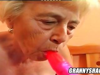Chubby, Old Blonde Haired Grandma Vera Uses A Sex Machine.