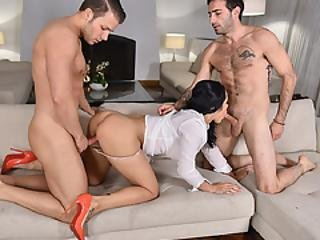 Crystal Grabs Two Massives Cock In Her Mouth