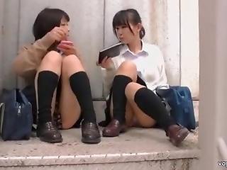 azjatka, japonka, szkoła, spódnica, widok spod spódniczki