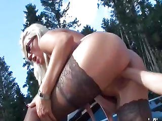 Fisting Breasty Golden-haired Milfs Greedy Twat In Public