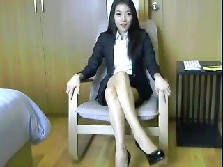 arte, asiatica, stupenda, ufficio, provocatoria, uniforme, webcam