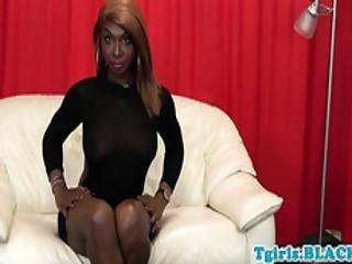Busty Black Tgirl Teases Before Masturbating