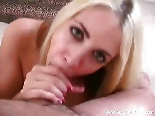 Cute Blonde Neighbor Sucks It