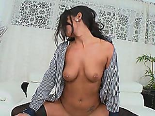 Lovely Brunette Lady Gets Her Brains Fucked Out On White Sofa