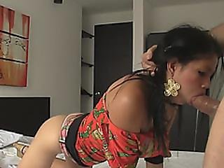 Young Latina Gets Her Mouth Fucked By Big Cock