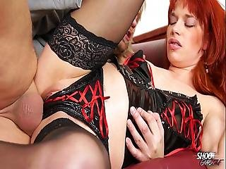 Shootourself - Latex Redhead Domina Get Harf Fuck And Huge Cumshot On Tits