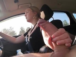 Blonde Teen Jerks Me Off While Driving Before Uni