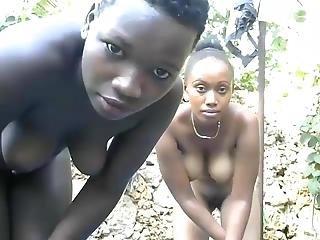 Two Ebony On Webcam