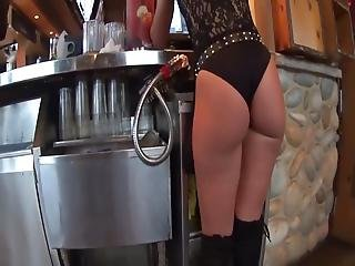 Blonde Waitress In Her Sexy Outfit Exposing Her Yummy Ass