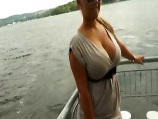 Willing Slut Flashes Her Jumbo Tits In Public Then Fucked For Cash